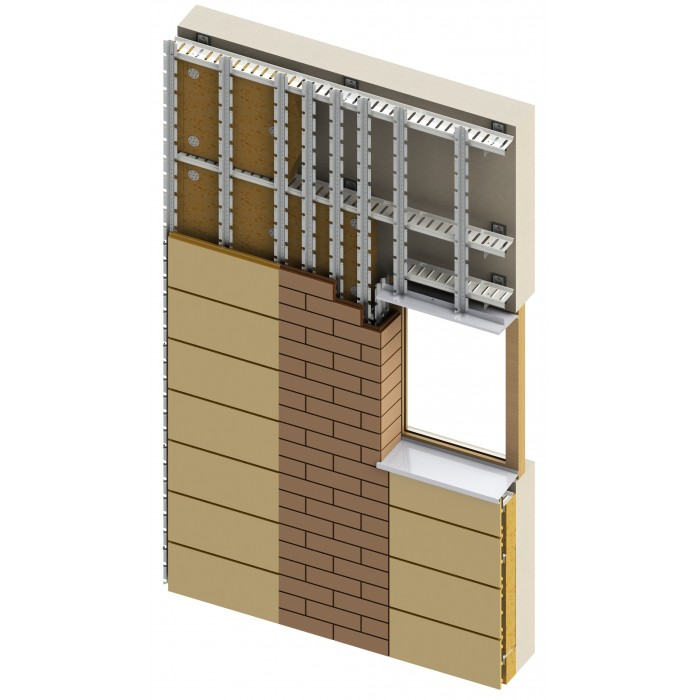 Energy-saving ventilated facade system SCANROC (Knauf Insulation 032A +)  120 mm