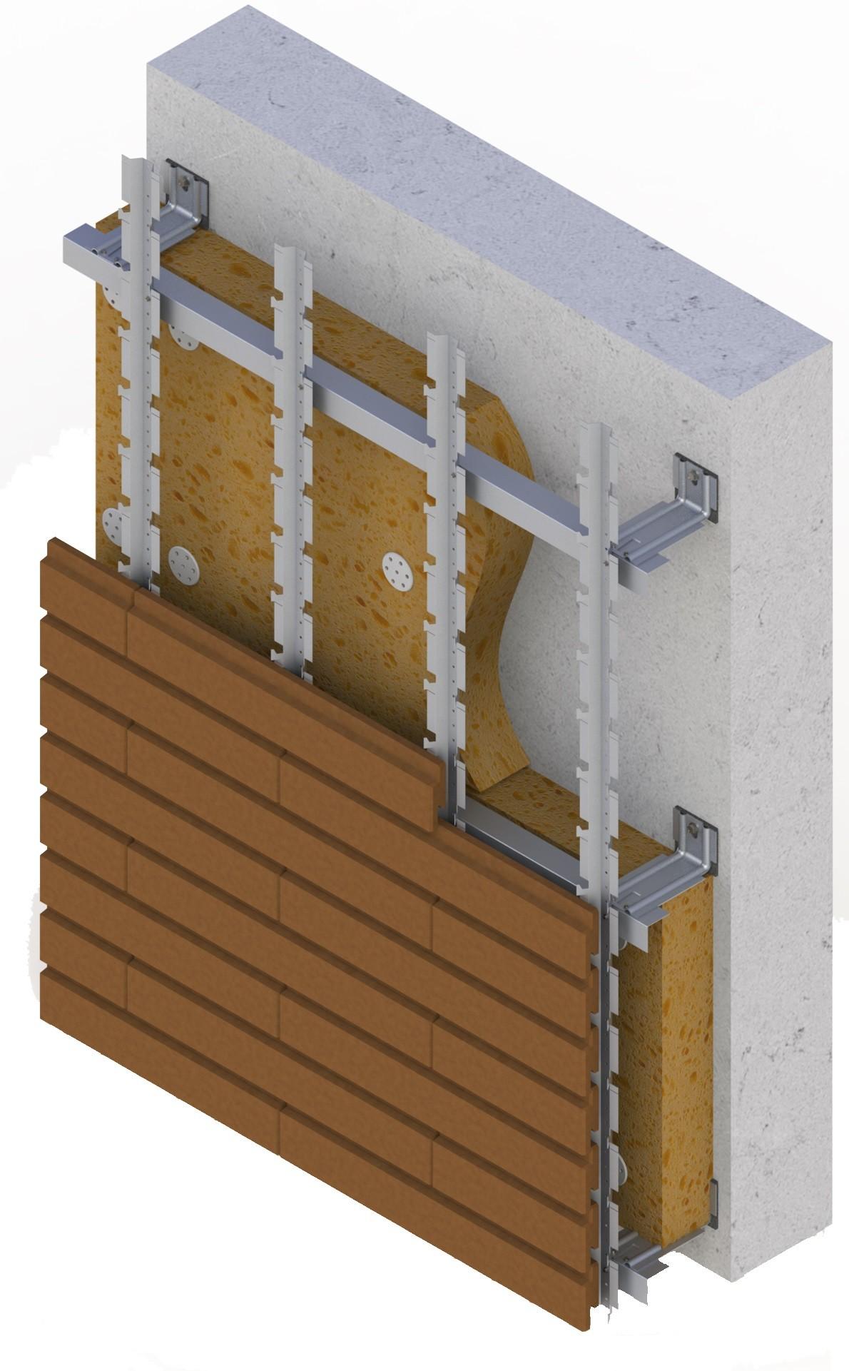 Energy-saving ventilated facade system SCANROC (Knauf Insulation 034A +)  120 mm