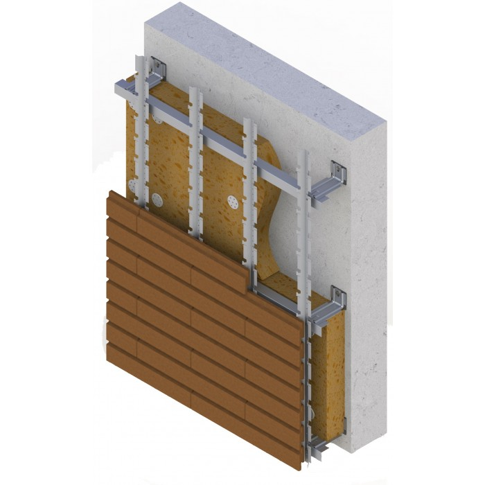 Енергозберігаюча вентильована фасадна система SCANROC (Knauf Insulation 034A +) 120 mm