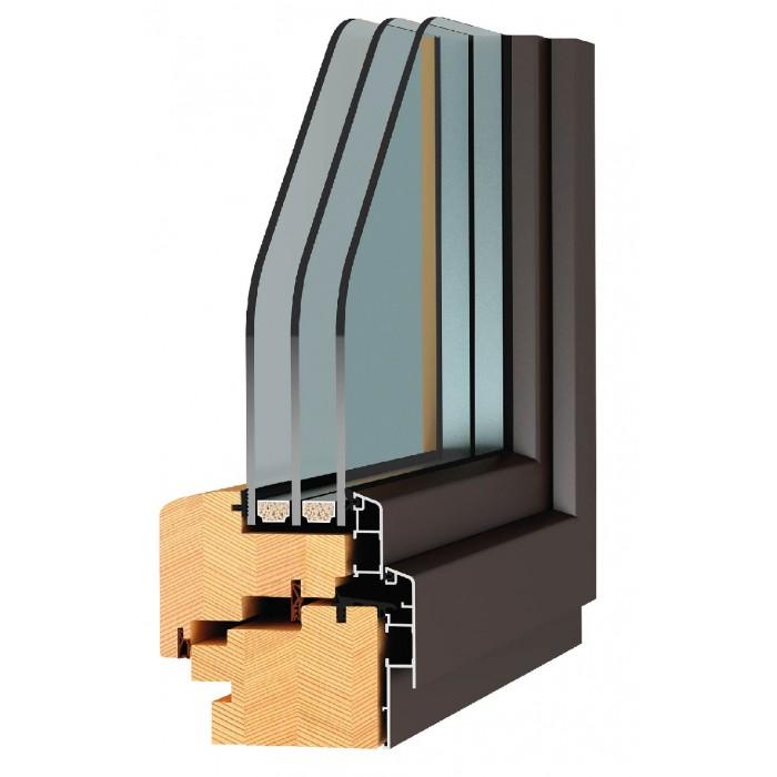 """Карпатські Вікна """"Стандарт"""" 68 дуб-алюміній / 4і-10Ar-4-10Ar-4і"""